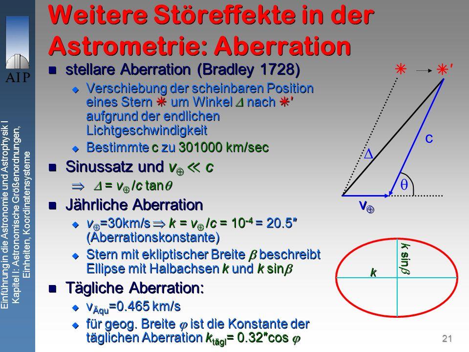 21 Einführung in die Astronomie und Astrophysik I Kapitel I: Astronomische Größenordnungen, Einheiten, Koordinatensysteme Weitere Störeffekte in der Astrometrie: Aberration stellare Aberration (Bradley 1728) Verschiebung der scheinbaren Position eines Stern um Winkel nach aufgrund der endlichen Lichtgeschwindigkeit Bestimmte c zu 301000 km/sec Sinussatz und v c = v /c tan Jährliche Aberration v =30km/s k = v /c = 10 -4 = 20.5 (Aberrationskonstante) Stern mit ekliptischer Breite beschreibt Ellipse mit Halbachsen k und k sin Tägliche Aberration: v Äqu =0.465 km/s für geog.