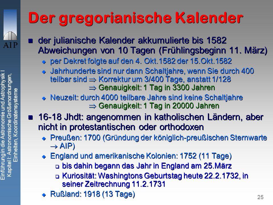 25 Einführung in die Astronomie und Astrophysik I Kapitel I: Astronomische Größenordnungen, Einheiten, Koordinatensysteme Der gregorianische Kalender