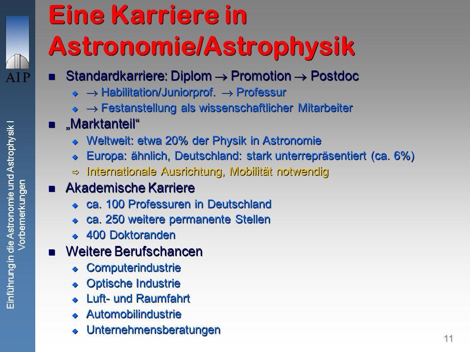 11 Einführung in die Astronomie und Astrophysik I Vorbemerkungen Eine Karriere in Astronomie/Astrophysik Standardkarriere: Diplom Promotion Postdoc Habilitation/Juniorprof.