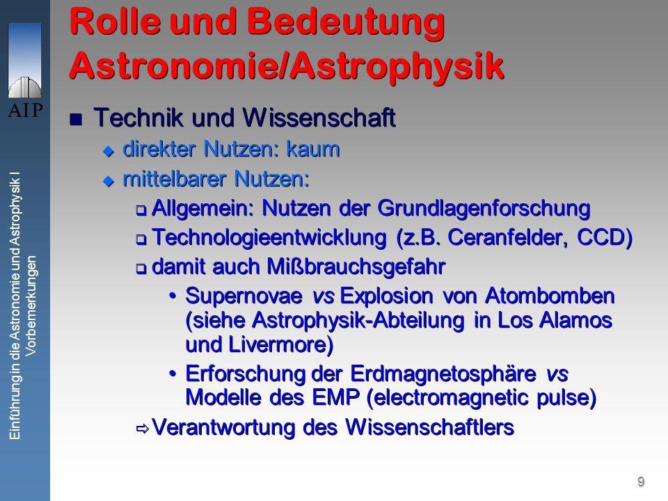 9 Einführung in die Astronomie und Astrophysik I Vorbemerkungen Rolle und Bedeutung Astronomie/Astrophysik Technik und Wissenschaft direkter Nutzen: kaum mittelbarer Nutzen: Allgemein: Nutzen der Grundlagenforschung Technologieentwicklung (z.B.