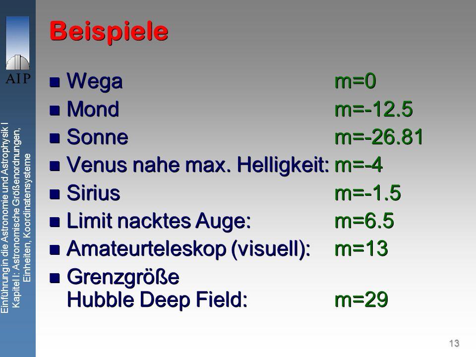 13 Einführung in die Astronomie und Astrophysik I Kapitel I: Astronomische Größenordnungen, Einheiten, Koordinatensysteme Beispiele Wegam=0 Mondm=-12.5 Sonnem=-26.81 Venus nahe max.