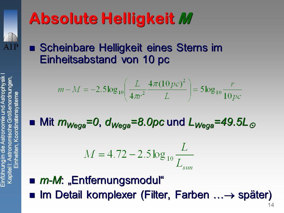 14 Einführung in die Astronomie und Astrophysik I Kapitel I: Astronomische Größenordnungen, Einheiten, Koordinatensysteme Absolute Helligkeit M Scheinbare Helligkeit eines Sterns im Einheitsabstand von 10 pc Mit m Wega =0, d Wega =8.0pc und L Wega =49.5L m-M: Entfernungsmodul Im Detail komplexer (Filter, Farben … später) Scheinbare Helligkeit eines Sterns im Einheitsabstand von 10 pc Mit m Wega =0, d Wega =8.0pc und L Wega =49.5L m-M: Entfernungsmodul Im Detail komplexer (Filter, Farben … später)