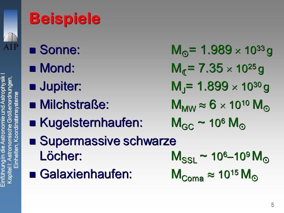 5 Einführung in die Astronomie und Astrophysik I Kapitel I: Astronomische Größenordnungen, Einheiten, Koordinatensysteme Beispiele Sonne:M = 1.989 10 33 g Mond:M = 7.35 10 25 g Jupiter:M J = 1.899 10 30 g Milchstraße: M MW 6 10 10 M Kugelsternhaufen: M GC ~ 10 6 M Supermassive schwarze Löcher: M SSL ~ 10 6 –10 9 M Galaxienhaufen: M Coma 10 15 M Sonne:M = 1.989 10 33 g Mond:M = 7.35 10 25 g Jupiter:M J = 1.899 10 30 g Milchstraße: M MW 6 10 10 M Kugelsternhaufen: M GC ~ 10 6 M Supermassive schwarze Löcher: M SSL ~ 10 6 –10 9 M Galaxienhaufen: M Coma 10 15 M