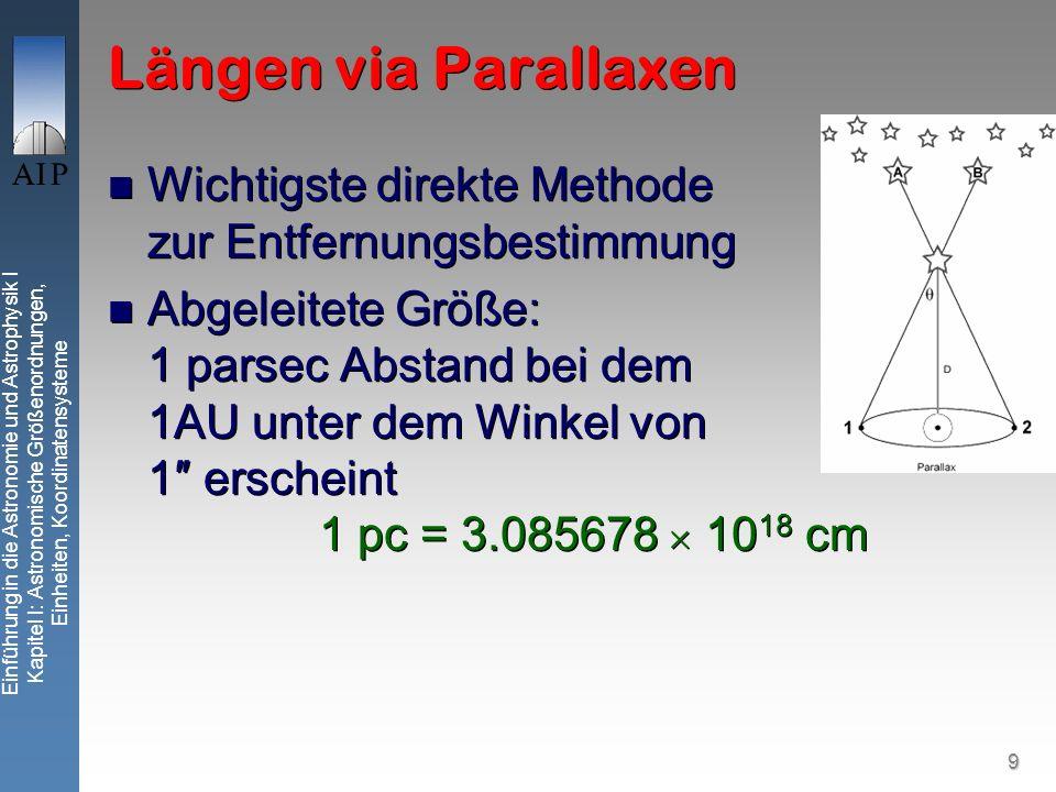 9 Einführung in die Astronomie und Astrophysik I Kapitel I: Astronomische Größenordnungen, Einheiten, Koordinatensysteme Längen via Parallaxen Wichtigste direkte Methode zur Entfernungsbestimmung Abgeleitete Größe: 1 parsec Abstand bei dem 1AU unter dem Winkel von 1 erscheint 1 pc = 3.085678 10 18 cm Wichtigste direkte Methode zur Entfernungsbestimmung Abgeleitete Größe: 1 parsec Abstand bei dem 1AU unter dem Winkel von 1 erscheint 1 pc = 3.085678 10 18 cm