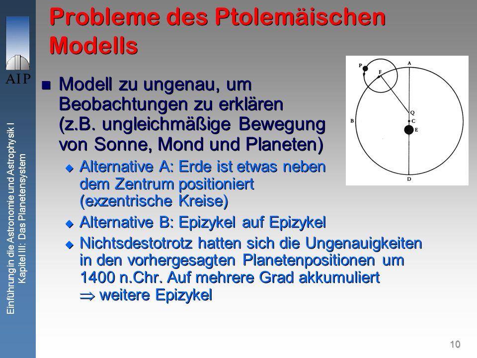 10 Einführung in die Astronomie und Astrophysik I Kapitel III: Das Planetensystem Probleme des Ptolemäischen Modells Modell zu ungenau, um Beobachtungen zu erklären (z.B.