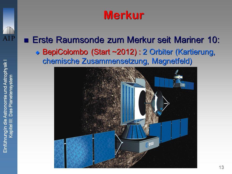 13 Einführung in die Astronomie und Astrophysik I Kapitel III: Das Planetensystem Merkur Erste Raumsonde zum Merkur seit Mariner 10: BepiColombo (Start ~2012) : 2 Orbiter (Kartierung, chemische Zusammensetzung, Magnetfeld) Erste Raumsonde zum Merkur seit Mariner 10: BepiColombo (Start ~2012) : 2 Orbiter (Kartierung, chemische Zusammensetzung, Magnetfeld)