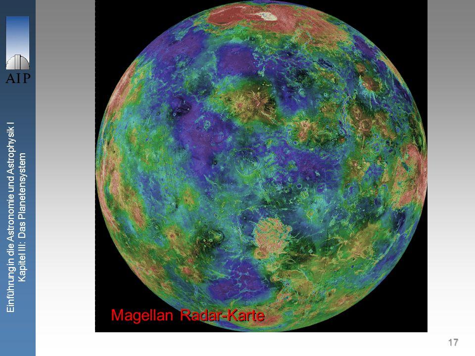 17 Einführung in die Astronomie und Astrophysik I Kapitel III: Das Planetensystem Venus Magellan Radar-Karte