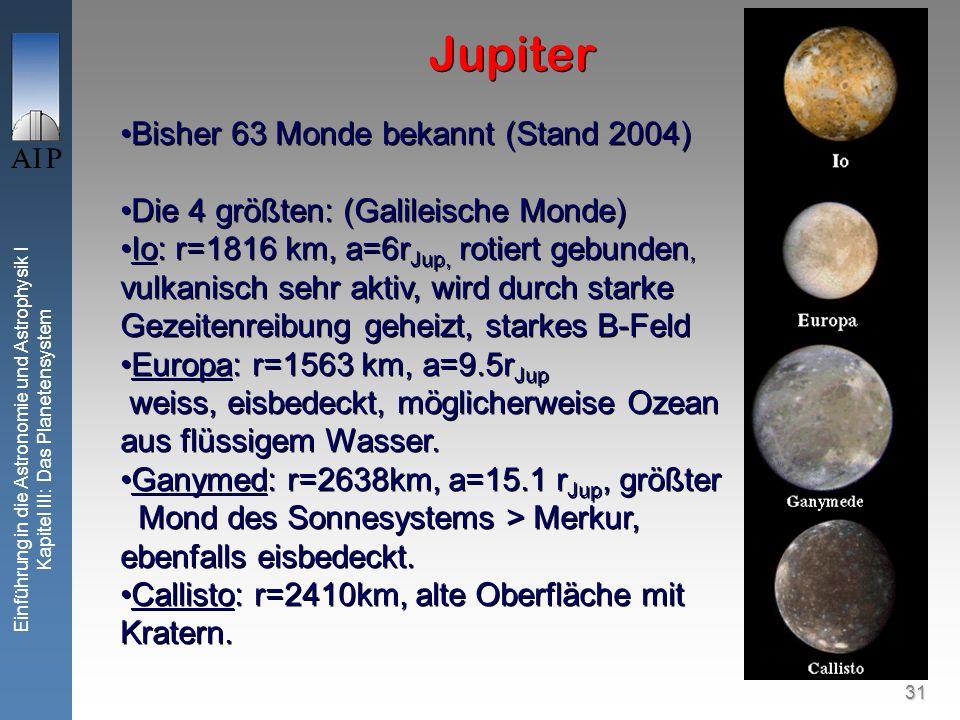 31 Einführung in die Astronomie und Astrophysik I Kapitel III: Das Planetensystem Jupiter Bisher 63 Monde bekannt (Stand 2004) Die 4 größten: (Galileische Monde) Io: r=1816 km, a=6r Jup, rotiert gebunden, vulkanisch sehr aktiv, wird durch starke Gezeitenreibung geheizt, starkes B-Feld Europa: r=1563 km, a=9.5r Jup weiss, eisbedeckt, möglicherweise Ozean aus flüssigem Wasser.