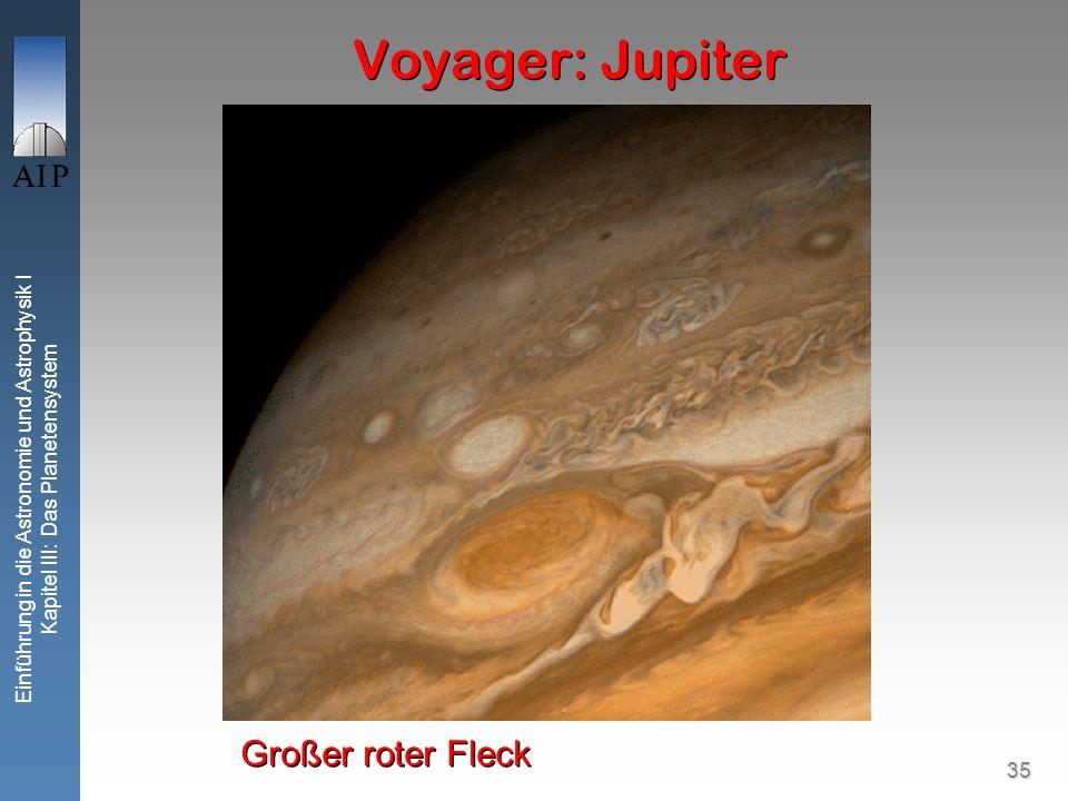 35 Einführung in die Astronomie und Astrophysik I Kapitel III: Das Planetensystem Voyager: Jupiter Großer roter Fleck