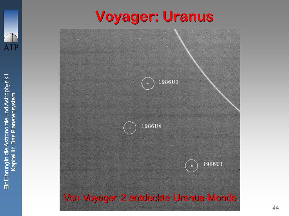 44 Einführung in die Astronomie und Astrophysik I Kapitel III: Das Planetensystem Voyager: Uranus Von Voyager 2 entdeckte Uranus-Monde