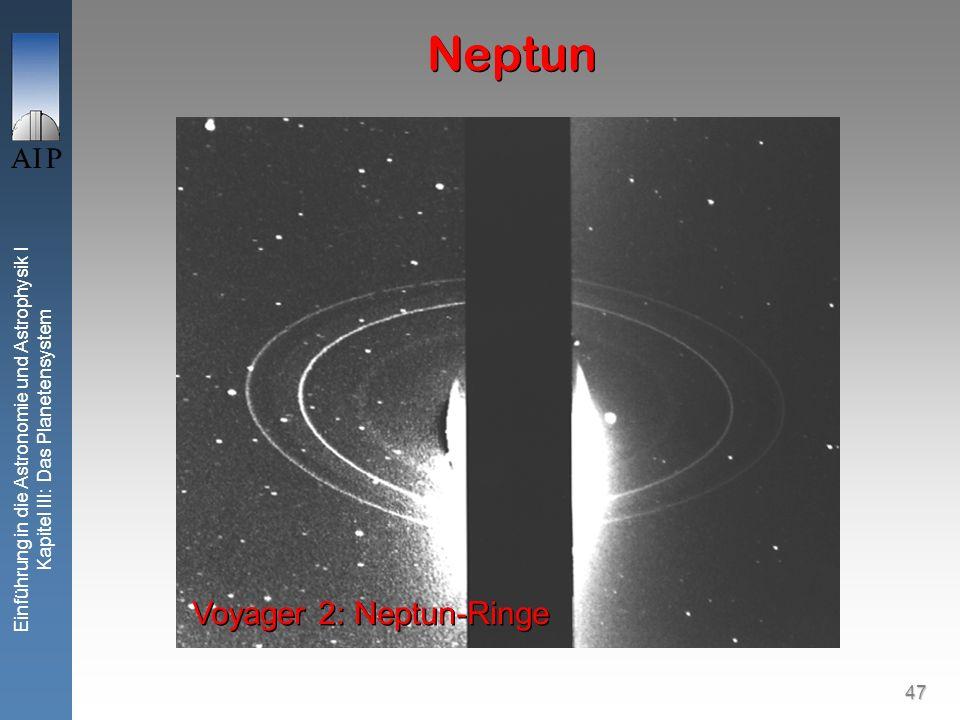 47 Einführung in die Astronomie und Astrophysik I Kapitel III: Das Planetensystem Neptun Voyager 2: Neptun-Ringe