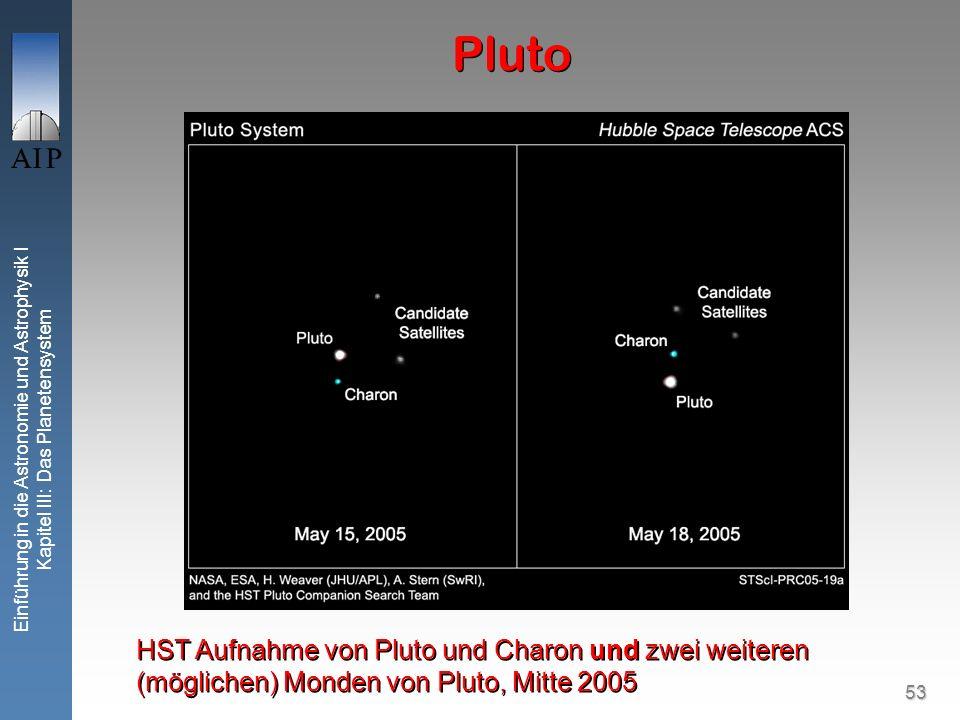 53 Einführung in die Astronomie und Astrophysik I Kapitel III: Das Planetensystem Pluto HST Aufnahme von Pluto und Charon und zwei weiteren (möglichen) Monden von Pluto, Mitte 2005
