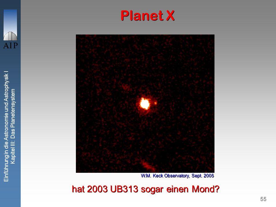 55 Einführung in die Astronomie und Astrophysik I Kapitel III: Das Planetensystem Planet X hat 2003 UB313 sogar einen Mond.