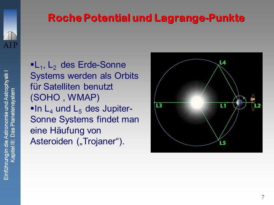 7 Einführung in die Astronomie und Astrophysik I Kapitel III: Das Planetensystem L 1, L 2 des Erde-Sonne Systems werden als Orbits für Satelliten benutzt (SOHO, WMAP) In L 4 und L 5 des Jupiter- Sonne Systems findet man eine Häufung von Asteroiden (Trojaner).