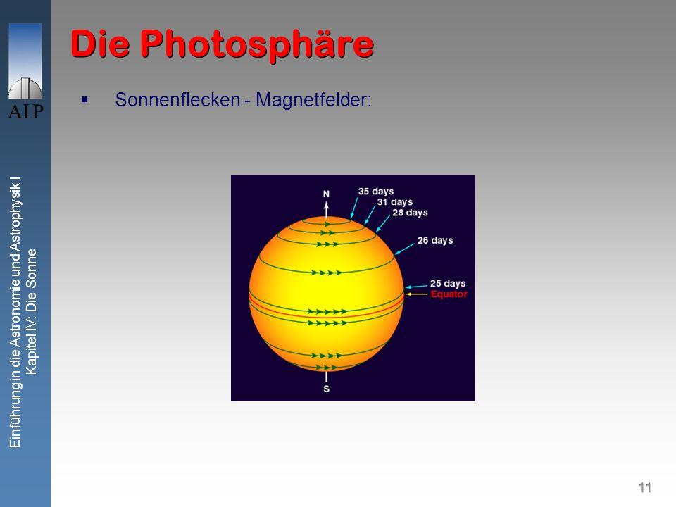 11 Einführung in die Astronomie und Astrophysik I Kapitel IV: Die Sonne Die Photosphäre Sonnenflecken - Magnetfelder: