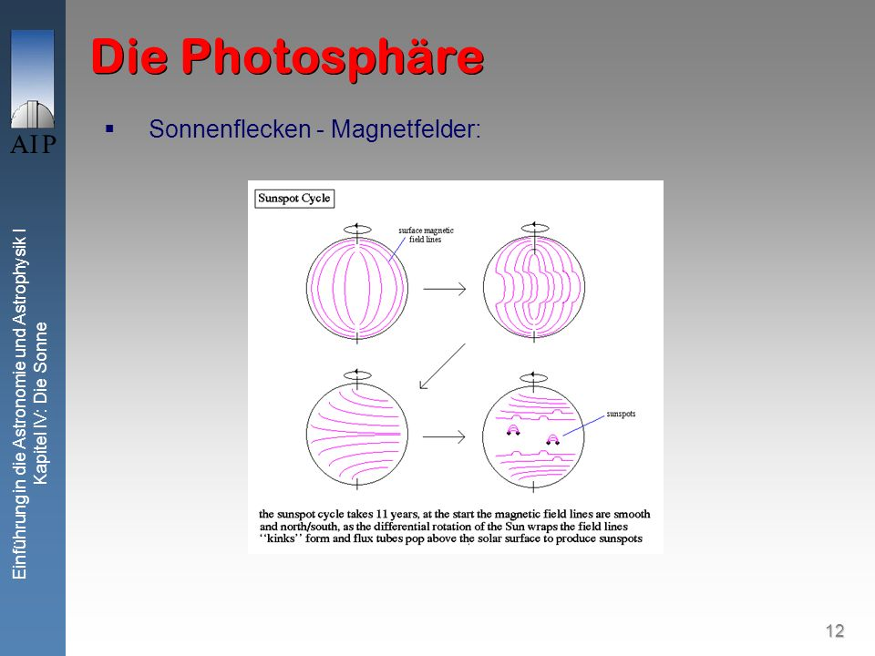 13 Einführung in die Astronomie und Astrophysik I Kapitel IV: Die Sonne Die Photosphäre Sonnenflecken - Magnetfelder: