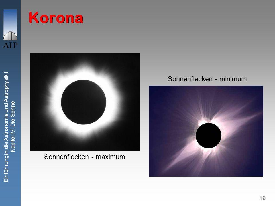 19 Einführung in die Astronomie und Astrophysik I Kapitel IV: Die Sonne Korona Sonnenflecken - minimum Sonnenflecken - maximum