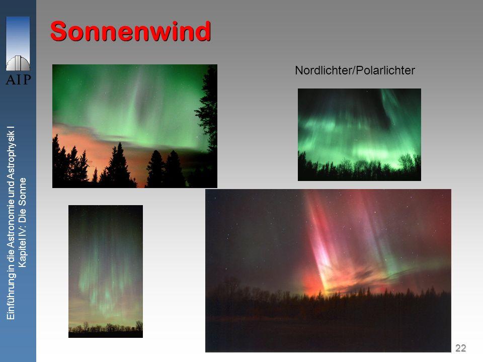 22 Einführung in die Astronomie und Astrophysik I Kapitel IV: Die Sonne Sonnenwind Nordlichter/Polarlichter