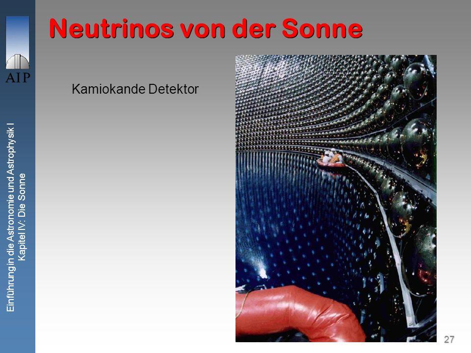 27 Einführung in die Astronomie und Astrophysik I Kapitel IV: Die Sonne Kamiokande Detektor Neutrinos von der Sonne