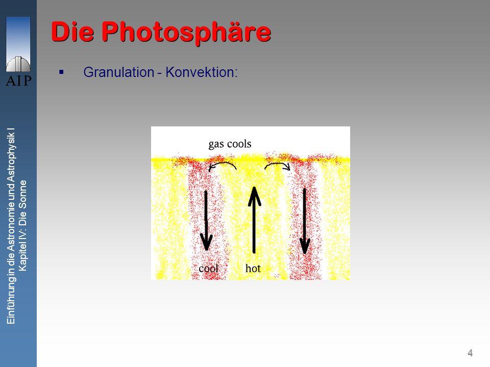 4 Einführung in die Astronomie und Astrophysik I Kapitel IV: Die Sonne Die Photosphäre Granulation - Konvektion: