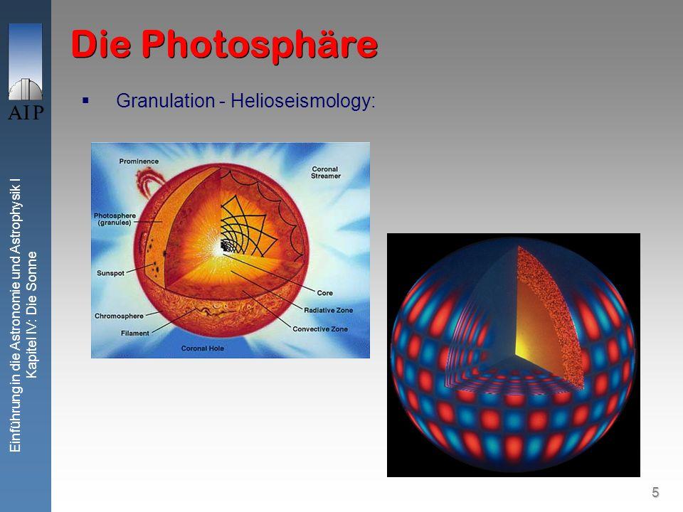 5 Einführung in die Astronomie und Astrophysik I Kapitel IV: Die Sonne Die Photosphäre Granulation - Helioseismology: