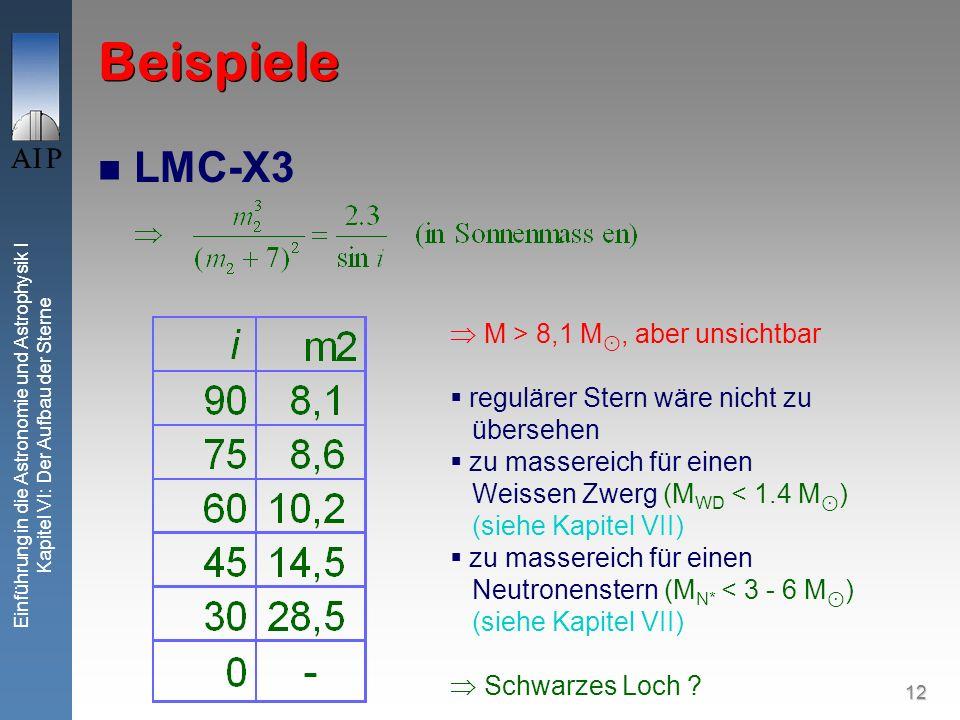 12 Einführung in die Astronomie und Astrophysik I Kapitel VI: Der Aufbau der Sterne Beispiele LMC-X3 M > 8,1 M, aber unsichtbar regulärer Stern wäre n