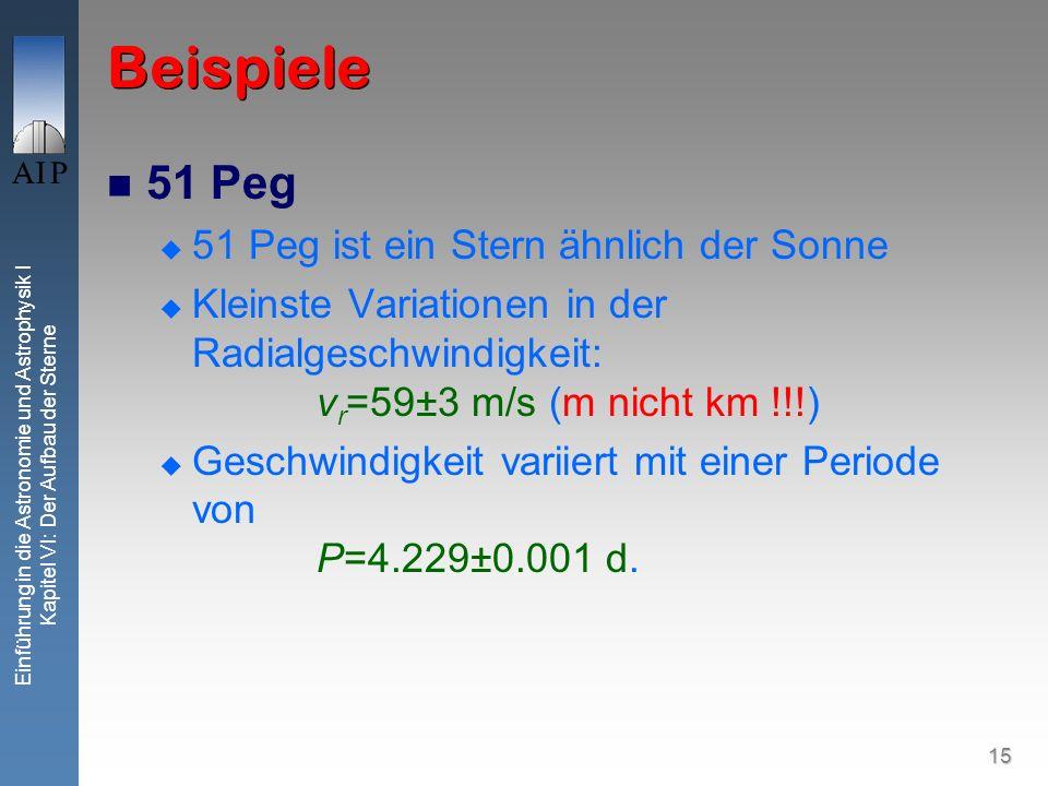 15 Einführung in die Astronomie und Astrophysik I Kapitel VI: Der Aufbau der Sterne Beispiele 51 Peg 51 Peg ist ein Stern ähnlich der Sonne Kleinste V