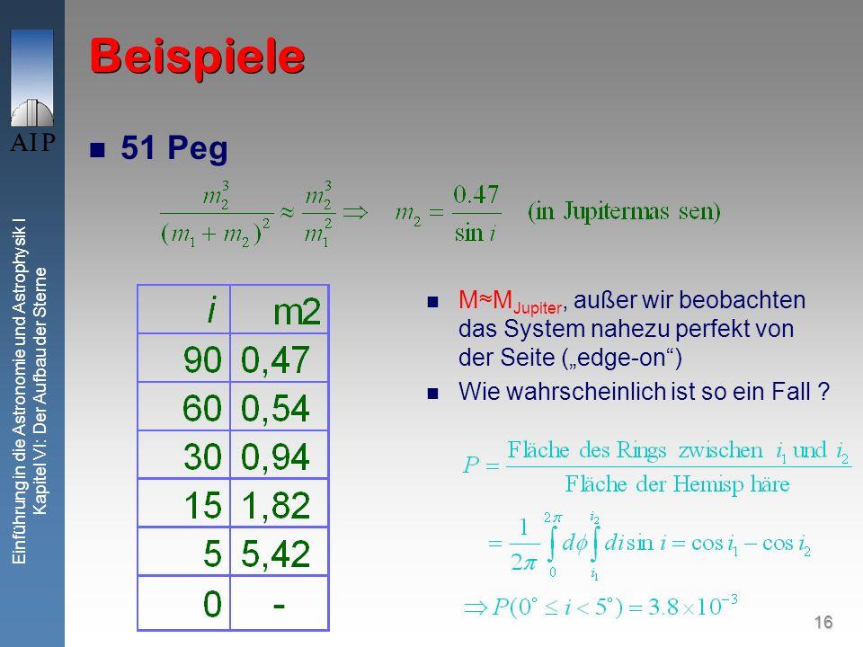 16 Einführung in die Astronomie und Astrophysik I Kapitel VI: Der Aufbau der Sterne Beispiele 51 Peg MM Jupiter, außer wir beobachten das System nahez