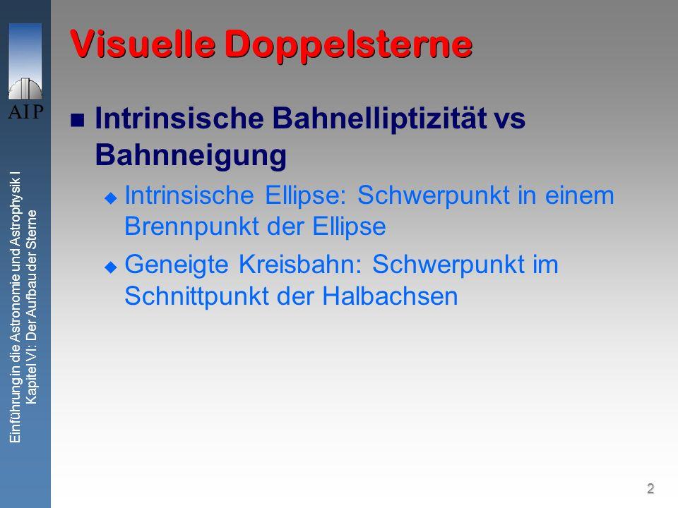 2 Einführung in die Astronomie und Astrophysik I Kapitel VI: Der Aufbau der Sterne Visuelle Doppelsterne Intrinsische Bahnelliptizität vs Bahnneigung