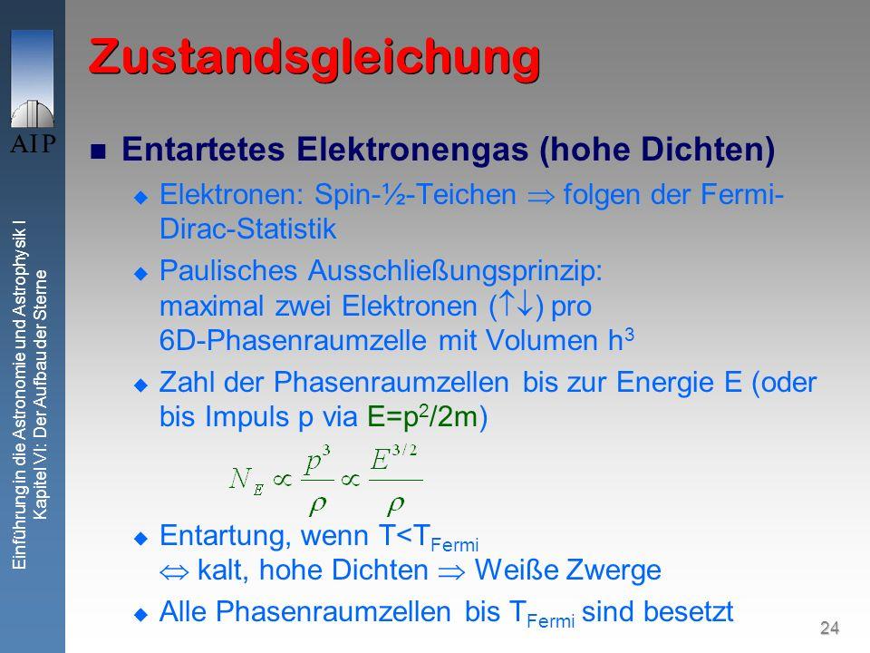 24 Einführung in die Astronomie und Astrophysik I Kapitel VI: Der Aufbau der Sterne Zustandsgleichung Entartetes Elektronengas (hohe Dichten) Elektron