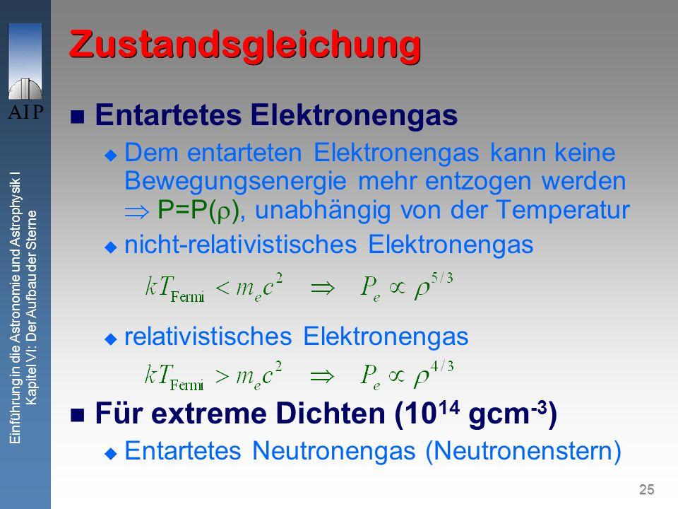 25 Einführung in die Astronomie und Astrophysik I Kapitel VI: Der Aufbau der Sterne Zustandsgleichung Entartetes Elektronengas Dem entarteten Elektron
