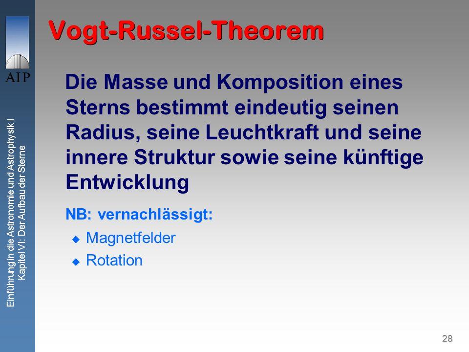 28 Einführung in die Astronomie und Astrophysik I Kapitel VI: Der Aufbau der Sterne Vogt-Russel-Theorem Die Masse und Komposition eines Sterns bestimm