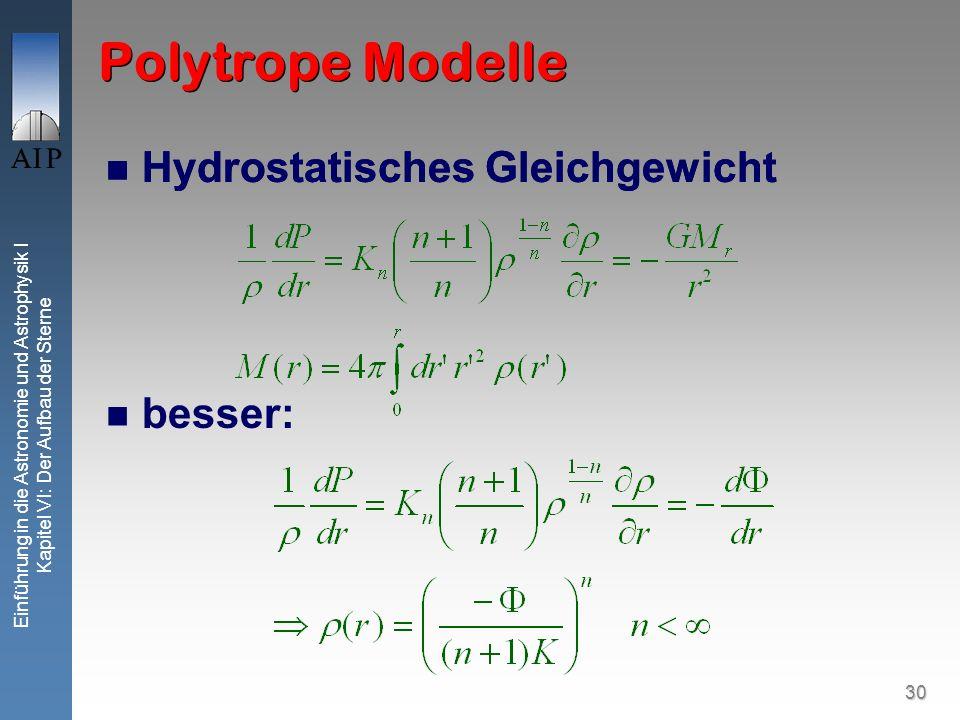 30 Einführung in die Astronomie und Astrophysik I Kapitel VI: Der Aufbau der Sterne Polytrope Modelle Hydrostatisches Gleichgewicht besser: