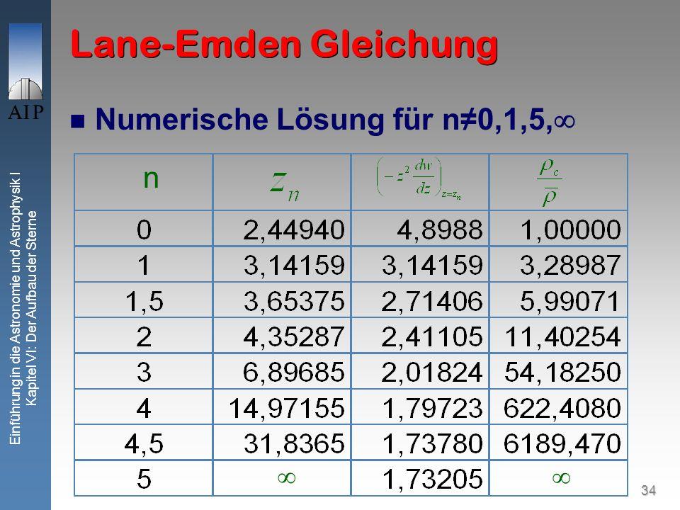 34 Einführung in die Astronomie und Astrophysik I Kapitel VI: Der Aufbau der Sterne Lane-Emden Gleichung Numerische Lösung für n0,1,5, n