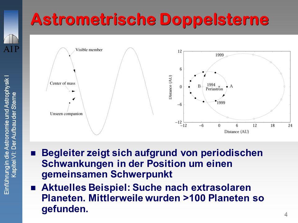 4 Einführung in die Astronomie und Astrophysik I Kapitel VI: Der Aufbau der Sterne Astrometrische Doppelsterne Begleiter zeigt sich aufgrund von perio