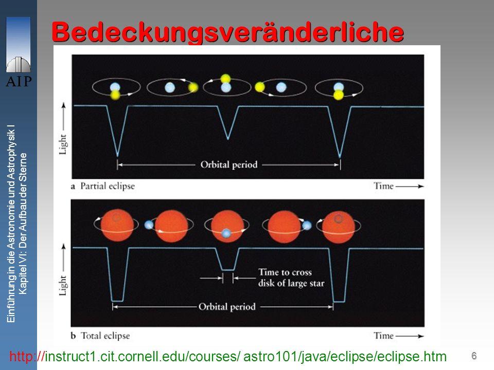 6 Einführung in die Astronomie und Astrophysik I Kapitel VI: Der Aufbau der Sterne Bedeckungsveränderliche http://instruct1.cit.cornell.edu/courses/ a