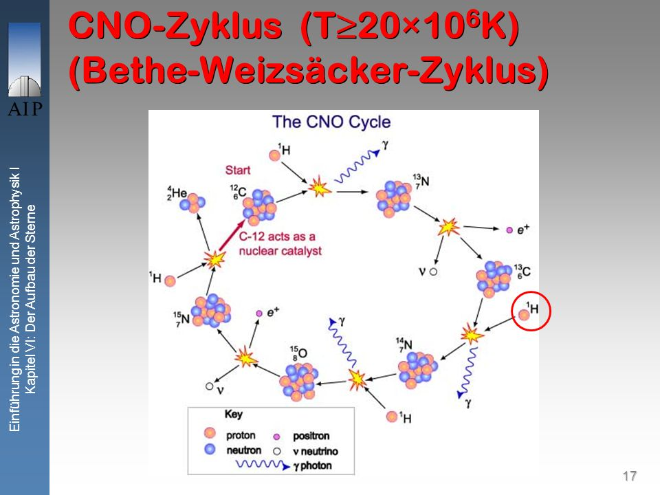 17 Einführung in die Astronomie und Astrophysik I Kapitel VI: Der Aufbau der Sterne CNO-Zyklus (T20×10 6 K) (Bethe-Weizsäcker-Zyklus)
