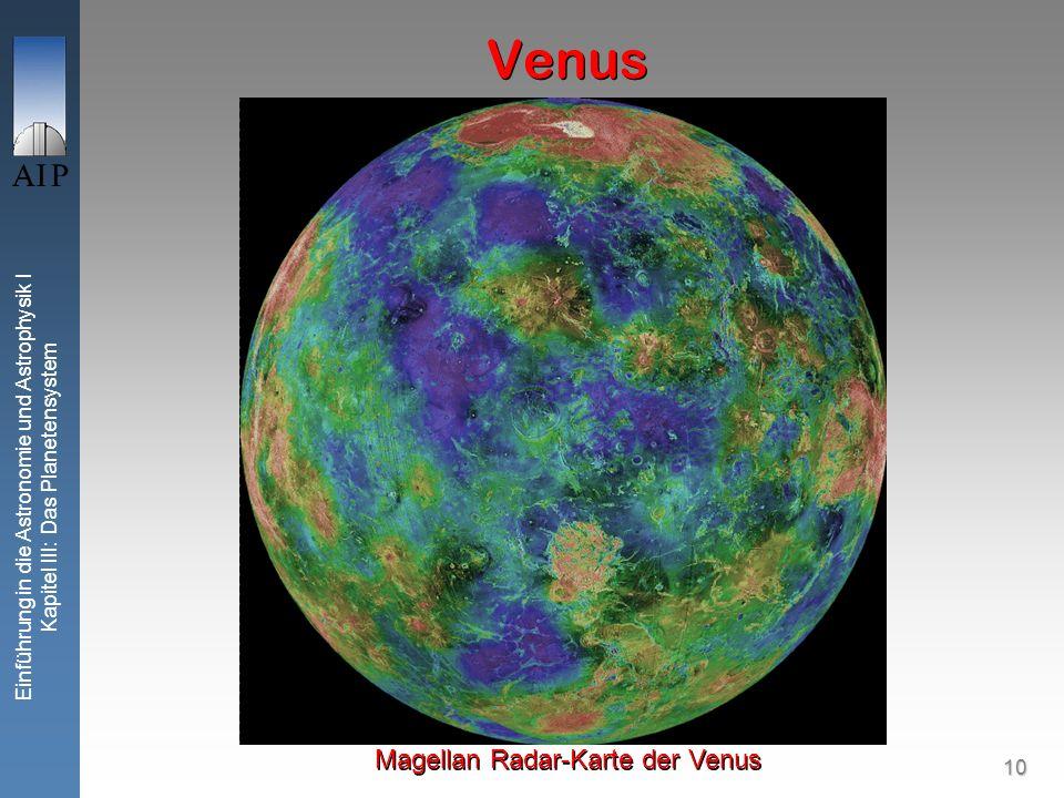 10 Einführung in die Astronomie und Astrophysik I Kapitel III: Das Planetensystem Venus Magellan Radar-Karte der Venus