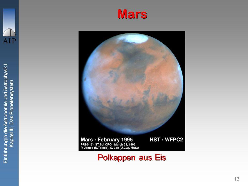 13 Einführung in die Astronomie und Astrophysik I Kapitel III: Das Planetensystem Mars Polkappen aus Eis