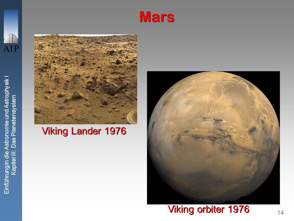 14 Einführung in die Astronomie und Astrophysik I Kapitel III: Das Planetensystem Mars Viking orbiter 1976 Viking Lander 1976