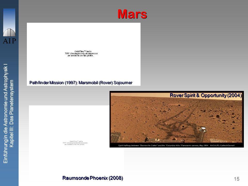 15 Einführung in die Astronomie und Astrophysik I Kapitel III: Das Planetensystem Mars Pathfinder Mission (1997): Marsmobil (Rover) Sojourner Raumsonde Phoenix (2008) Rover Spirit & Opportunity (2004)