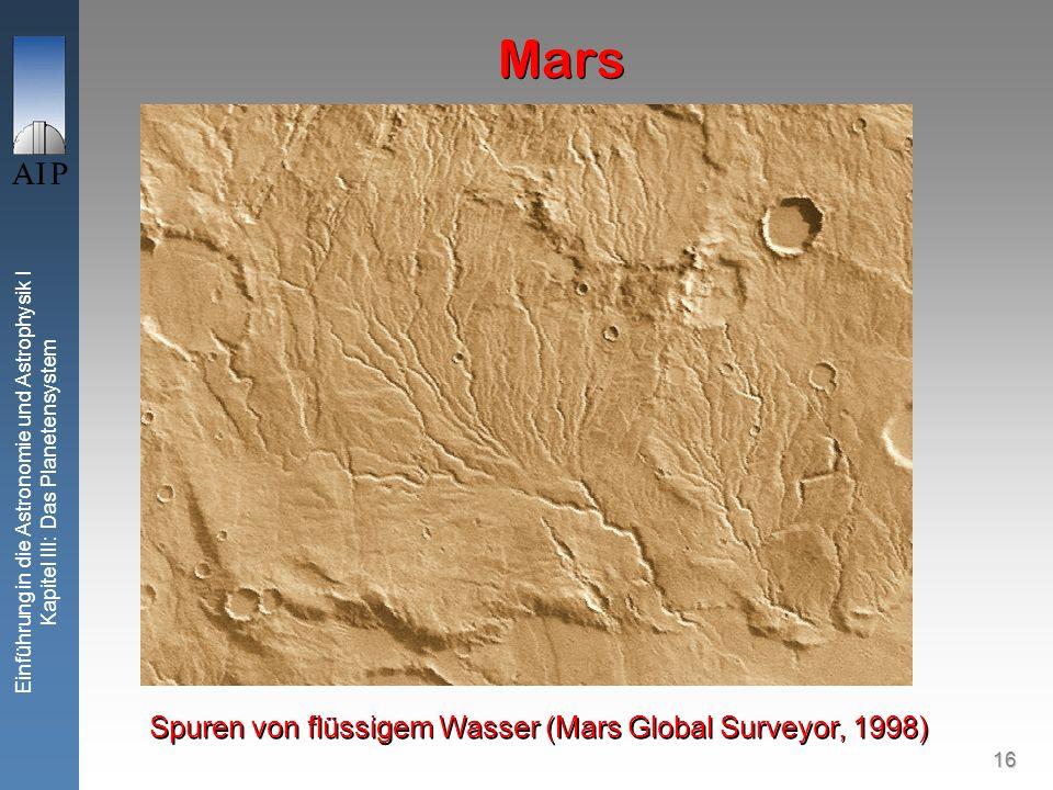 16 Einführung in die Astronomie und Astrophysik I Kapitel III: Das Planetensystem Mars Spuren von flüssigem Wasser (Mars Global Surveyor, 1998)