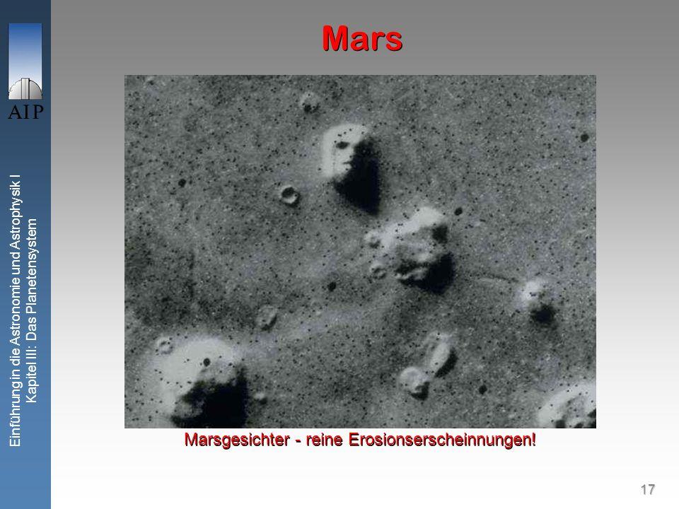 17 Einführung in die Astronomie und Astrophysik I Kapitel III: Das Planetensystem Mars Marsgesichter - reine Erosionserscheinnungen!