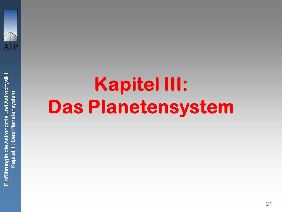 Einführung in die Astronomie und Astrophysik I Kapitel III: Das Planetensystem 21 Kapitel III: Das Planetensystem