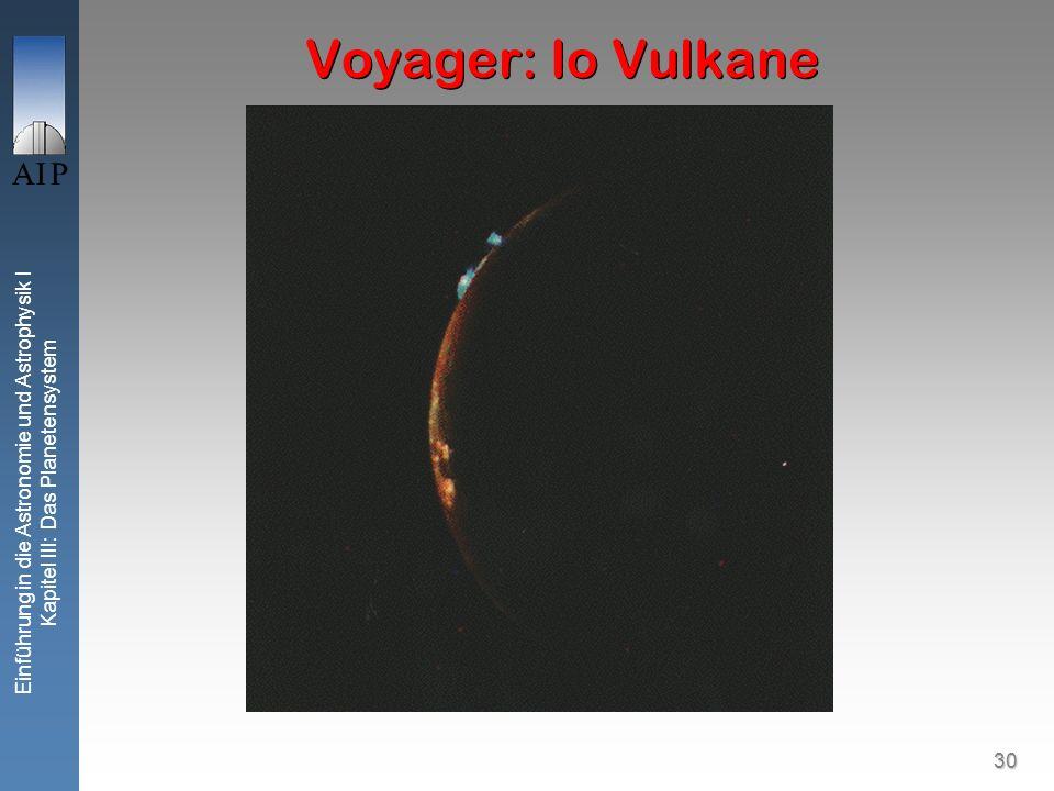 30 Einführung in die Astronomie und Astrophysik I Kapitel III: Das Planetensystem Voyager: Io Vulkane