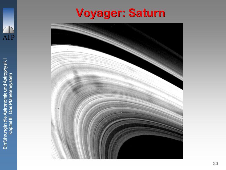 33 Einführung in die Astronomie und Astrophysik I Kapitel III: Das Planetensystem Voyager: Saturn