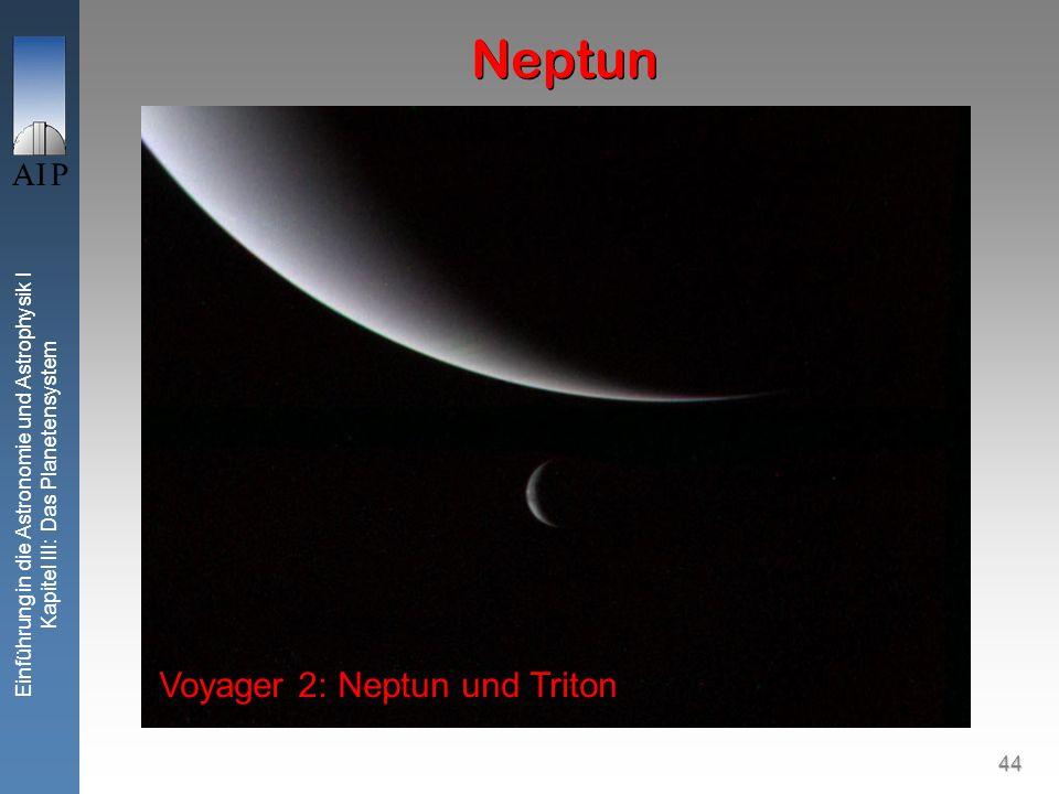 44 Einführung in die Astronomie und Astrophysik I Kapitel III: Das Planetensystem Neptun Voyager 2: Neptun und Triton