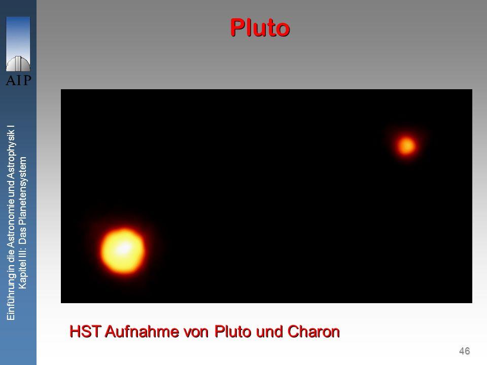46 Einführung in die Astronomie und Astrophysik I Kapitel III: Das Planetensystem Pluto HST Aufnahme von Pluto und Charon