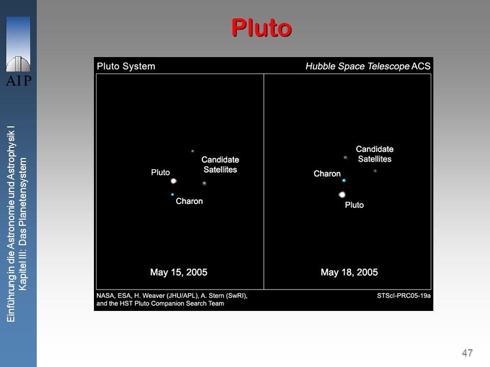 47 Einführung in die Astronomie und Astrophysik I Kapitel III: Das Planetensystem Pluto