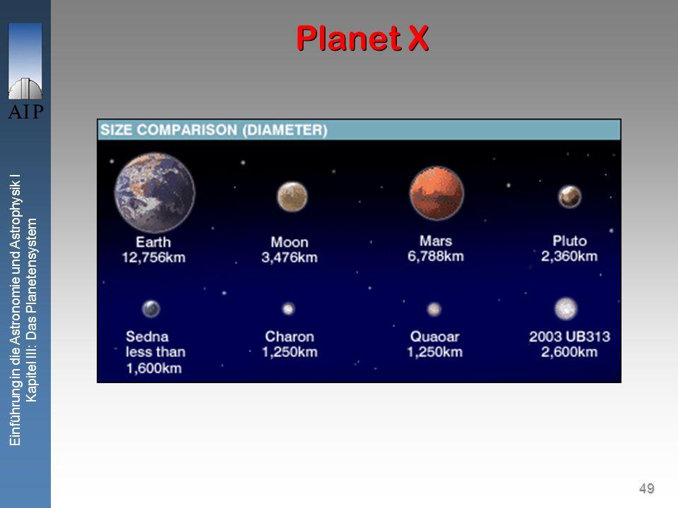 49 Einführung in die Astronomie und Astrophysik I Kapitel III: Das Planetensystem Planet X
